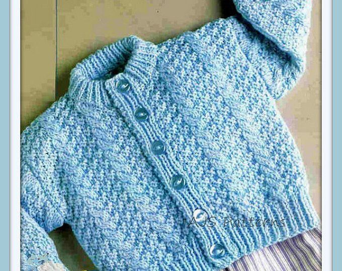 "PDF Knitting Pattern - Baby & Toddlers Textured Cardigan 16-22"" - Instant Download"