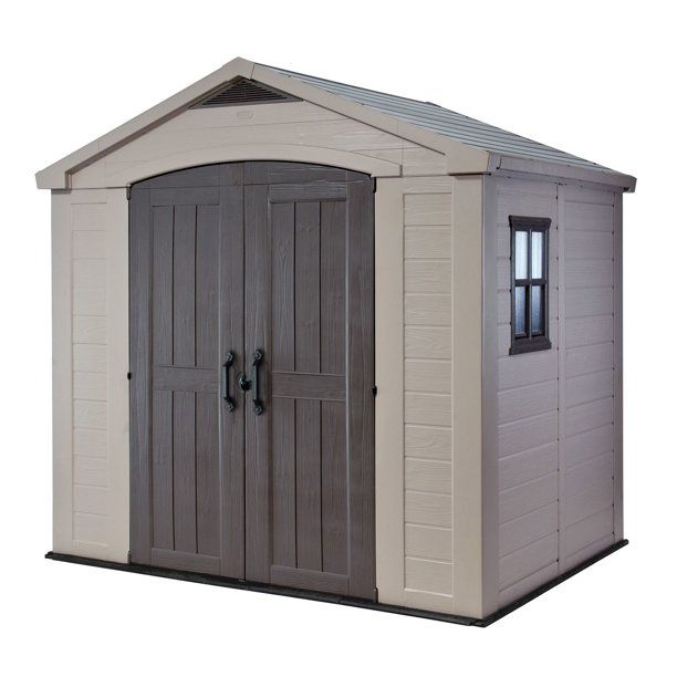 Keter Factor 8 X 6 Resin Storage Shed All Weather Plastic Outdoor Storage Beige Taupe Walmart Com In 2021 Outdoor Storage Sheds Garden Storage Shed Plastic Sheds