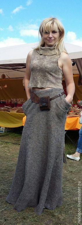 """Купить """"Родом из природы"""" - темно-серый, однотонный, Авторский дизайн, длинная юбка в пол"""