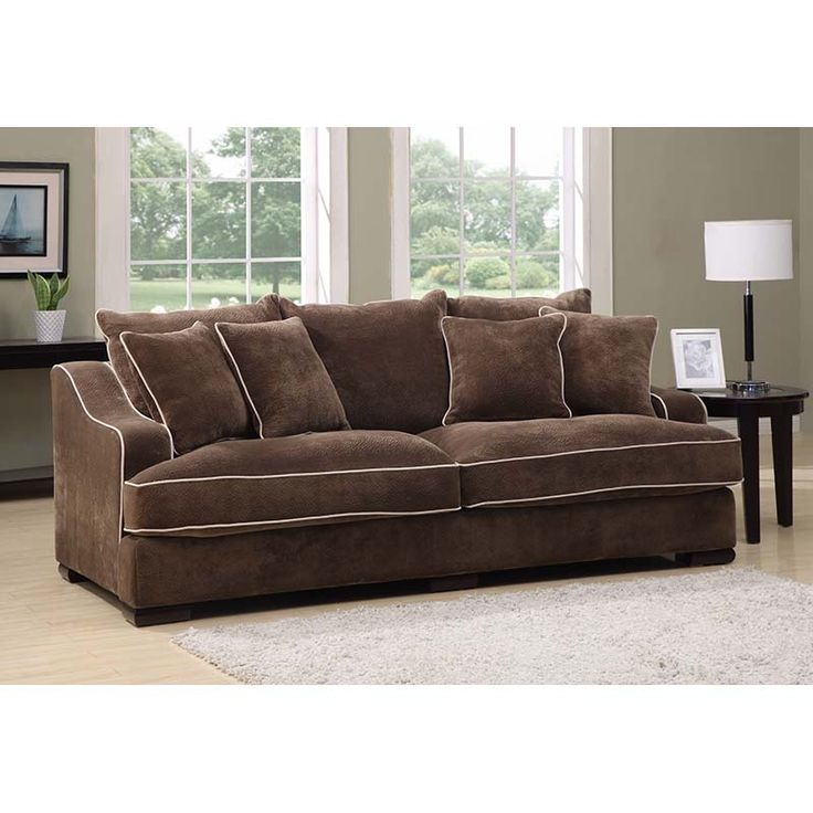 Caressa Mocha Sofa With 4 Pillows | Sofas | Discount Direct Furniture And  Mattress Gallery