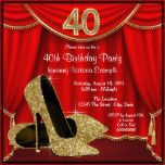 Elegant red and gold glitter high heel shoes woman's stepping into forty 40th birthday party invitations with beautiful gold glitter high heel shoes on a red and gold curtain background. This elegant red and gold 40th birthday party invitation is easily customized for your party or event by adding your event details, font style, font size & color, and wording.