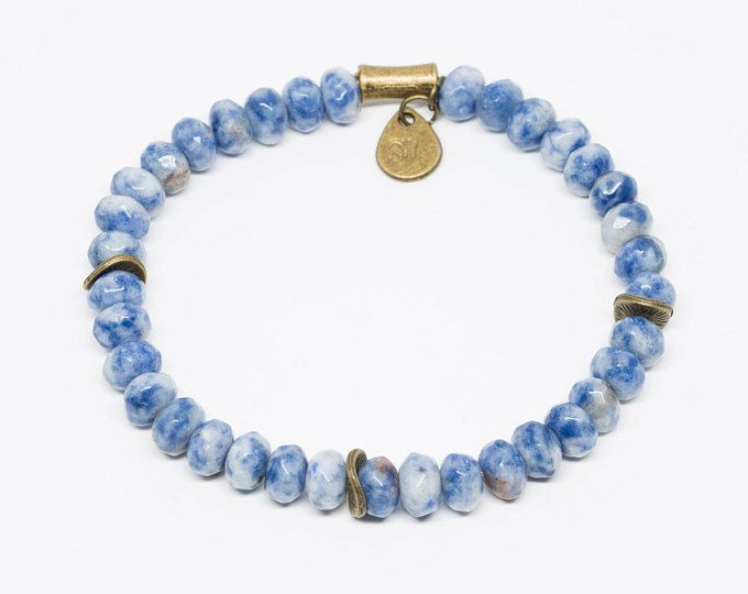 Blue Spotted Jasper with Hand-stamped Pendant -  African-inspired beaded bracelets supporting wildlife conservation by wildlife photographer Shannon Wild.
