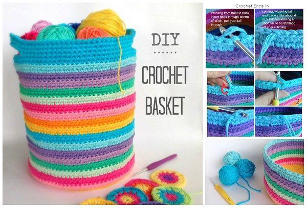 Come fare cesto portagomitoli in lana a uncinetto. Come avviare il lavoro, come cambiare colore, come fare i manici e come rifinire il cesto.
