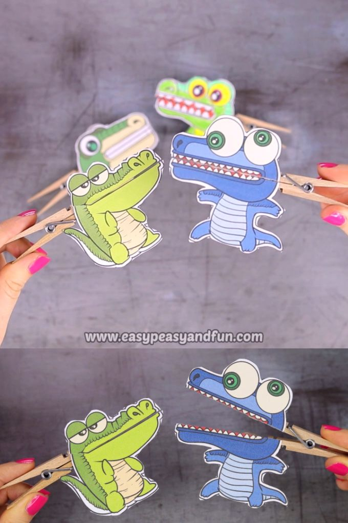 Crocodile Clothespin Puppets