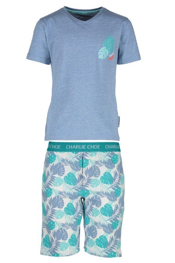 Charlie Choe pyjama shortama voor jongens Tropicla Leavers, blauw
