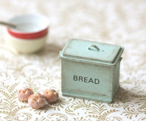Shabby Chic Mint Green Bread Box from miniaturepatisserie