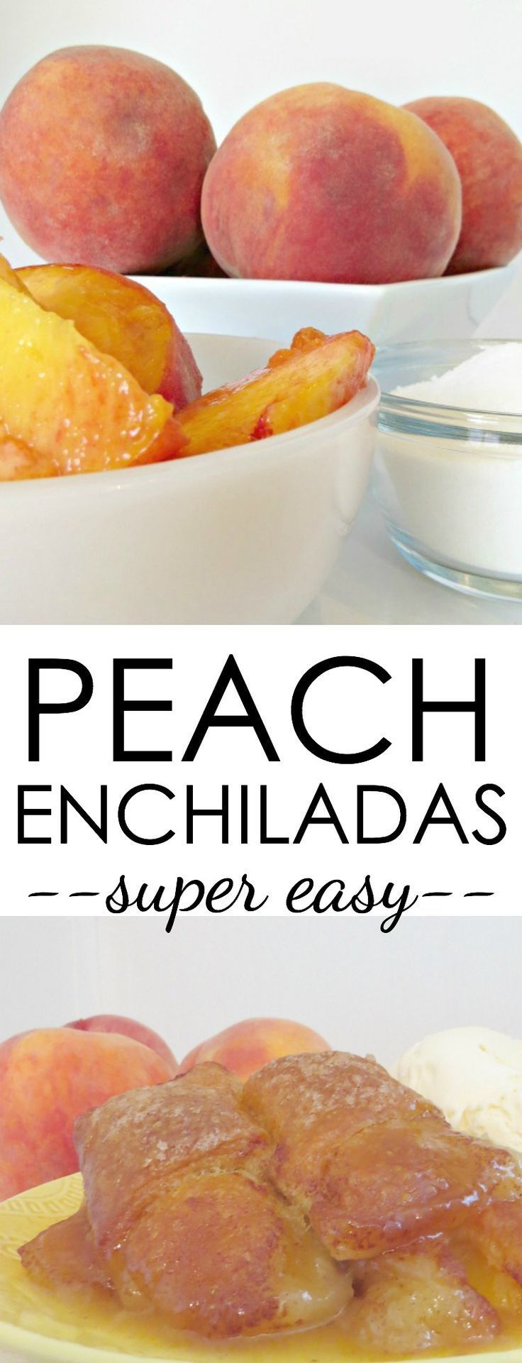 Try this super easy peach dessert that's filled with juicy fresh peaches and wrapped in a crescent roll crust. It's delicious! Peach Enchiladas Recipe Dessert