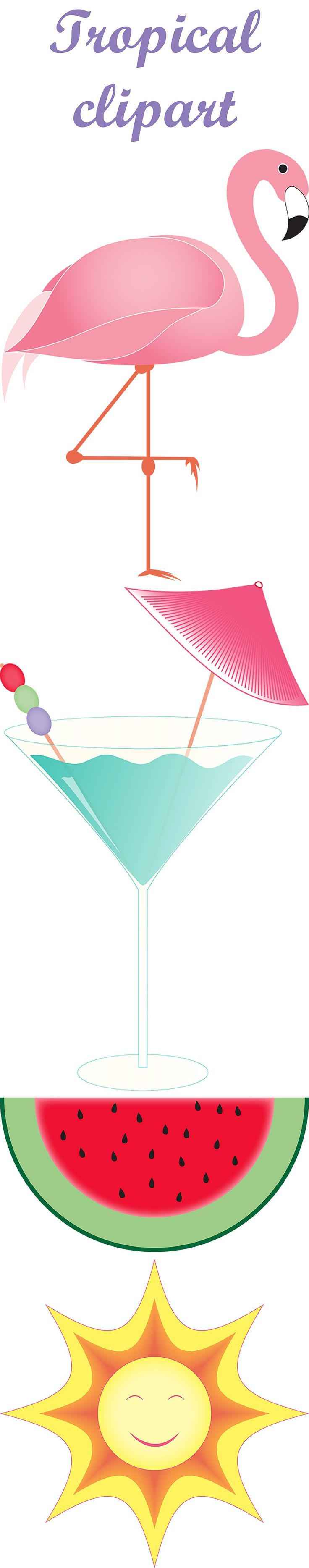 Digital Tropical Clipart With Cocktail Flamingo Melon