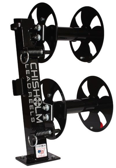 """Chisholm Welding Lead Reel -10"""" Fixed Base Double Reel FBD Black.  Also available with 12"""" reel & Red/Blue/Grey color options."""