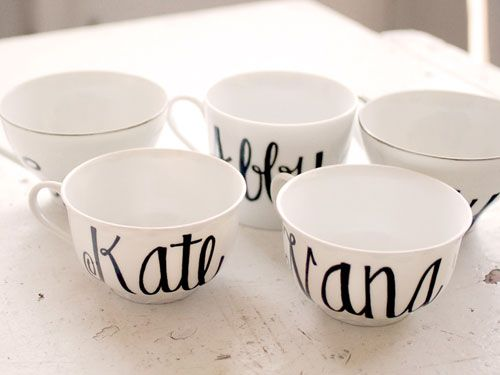 Treat your friends to these Custom Calligraphy Tea Cups ($16 each) from Etsy. #gifts #holiday