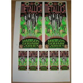 Metallica New York 1997 Mark Arminski Uncut Poster Sheet Handbills Signed