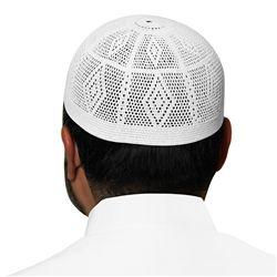 White Swiss Cotton Knitted Kufi Muslim Prayer Mens Skull Cap - 20 inch