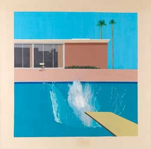 not a collage but looking at the composition of DAVID HOCKNEY: PAINTINGS