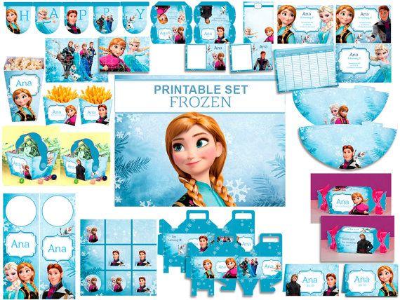 INSTANT DOWNLOAD Frozen Disney, Anna, Elsa, Hans, Kristoff, Alof, Printable Kit Birthday Party Decoration Frozen, Candybar, Printable labels