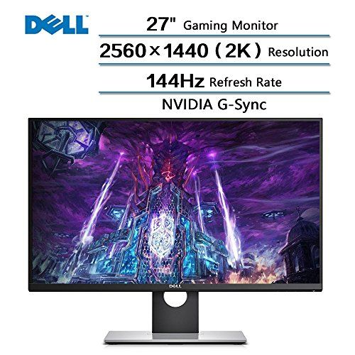 """2018 Newest Dell Flagship High Performance 27"""" Gaming Monitor with 144 Hz Refresh Rate, WQHD 2560 x 1440 Resolution (2k) and NVIDIA G-Sync 16:9 TN Panel - Dell Gaming 27 inches Screen LED-Lit Monitor Brand: Dell Color: Black Input(s): DisplayPort, HDMI, USB 3.0 Refresh Rate: 144Hz Resolution (Native): 2560 x 1440 Response Time: 1 milliseconds Screen: 27 inches, LED blacklight, Windescreen, 2560x1440(2K) resolution Respond Time: 1ms FAST Mode Aspect..."""