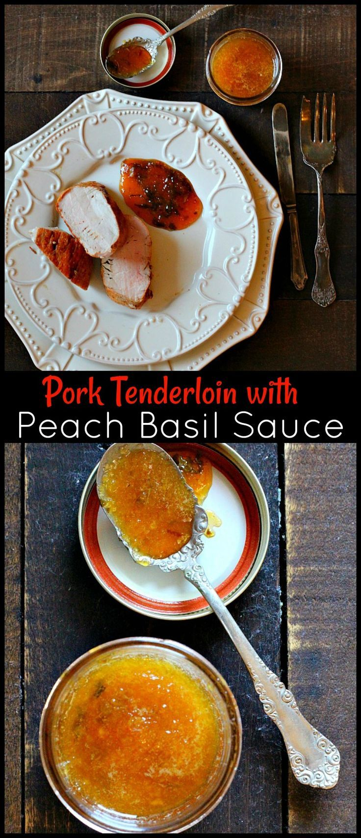A simple Peach and Basil Gastrique Sauce for Pork or Chicken. Beautiful in flavor, this vinegar and peach puree sauce turns into a delicious glaze. Lean how to make a gastrique, the flavor combos are endless. via @lannisam