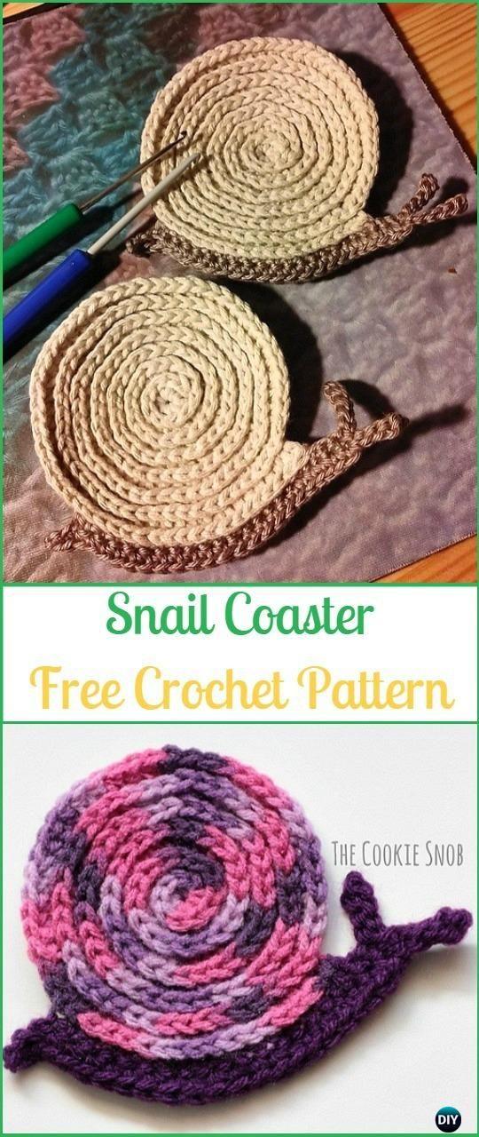 Crochet Snail Coaster Free Pattern - - #Crochet Coasters Free Patterns