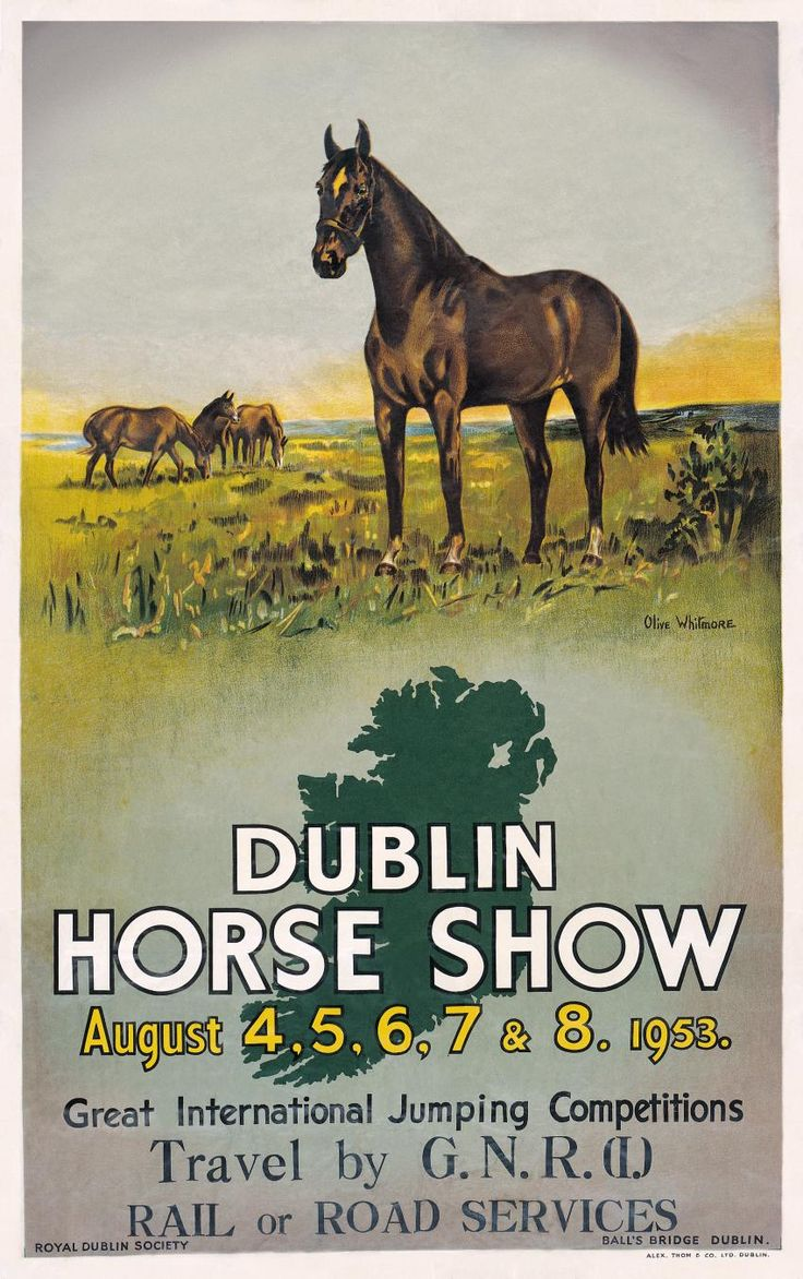 This travel poster was originally used to promote visitors to the Dublin Horse Show. Description from priceninja.com. I searched for this on bing.com/images