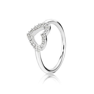 Show how much you care for your loved one by giving her this gorgeous heart ring. It is made from sterling silver and features a cut-out heart that has been adorned with sparkling cubic zirconia. #PANDORA #PANDORAring