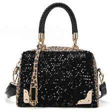New Designer ladies Womens Leather Style Tote Black Leopard Shoulder Bag Handbag