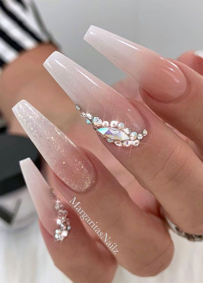The Most Stunning Wedding Nail Art Designs For A Real Wow Long Acrylic Nails Coffin Nails Long Bride Nails
