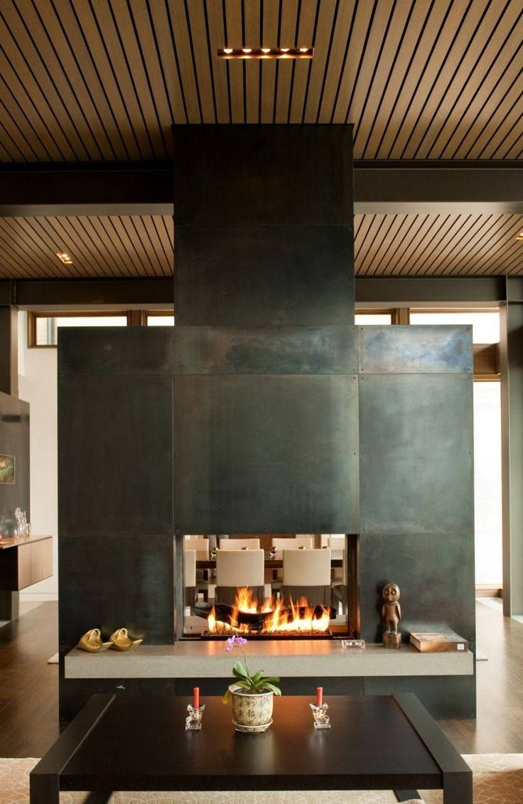Extravagant fireplace steals the show stone fireplace for the spacious - Patina D Steel As An Idea For The Fireplace And Tv Surround