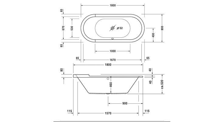 700009000000000 Duravit  Duravit Starck Badekar for innbygging 1800x800 mm, Ovalt