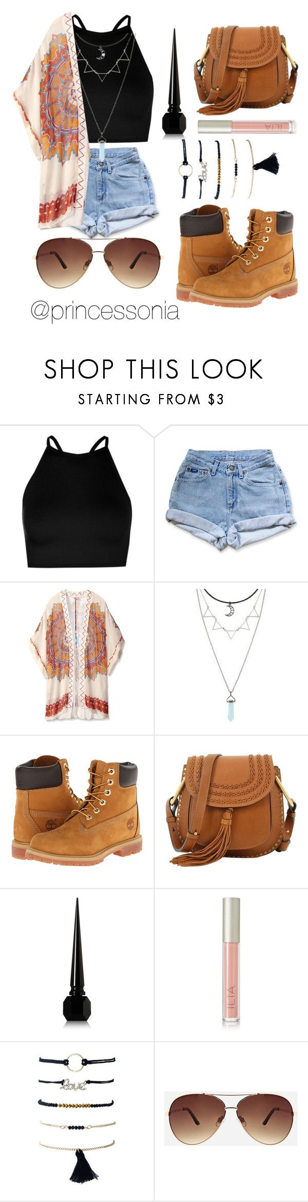 """Untitled #179"" by princessonia ❤ liked on Polyvore featuring Boohoo, Levi's, Theodora & Callum, Hot Topic, Timberland, Chloé, Christian Louboutin, Ilia and Ashley Stewart"