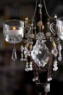 CANDLE-IERS - Teacups, shotglasses, perfume bottles, beads, crystals, etc.  Household items turned into glamorous lighting. Camper. Patio.Bath