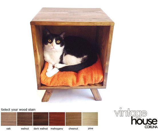 This is a fantastic handmade and made to order Midcentury inspired cat bed / nightstand / side table.  It is the perfect sized bed for your favorite pet and stylish too. It works perfectly as a modern nightstand and allows your cat to sleep right next to you. It is carefully hand crafted using quality solid pine and hand varnished using a stain of your choice. Simply pick your favorite color from the color card in the photo.  We offer this table with a variety of finishes. Classic a...
