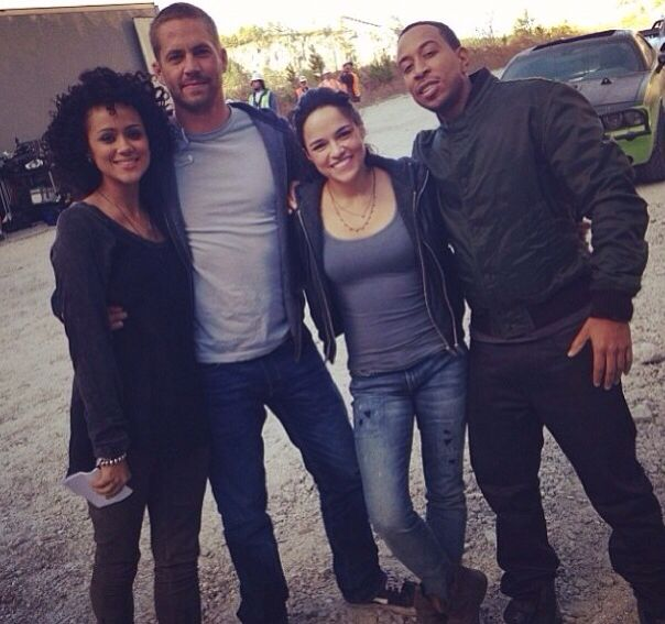 Paul Walker, Michelle Rodriguez and Ludacris on the set of Fast and Furious 7. This was taken 11/23/13. One week before Paul Walker passed away.