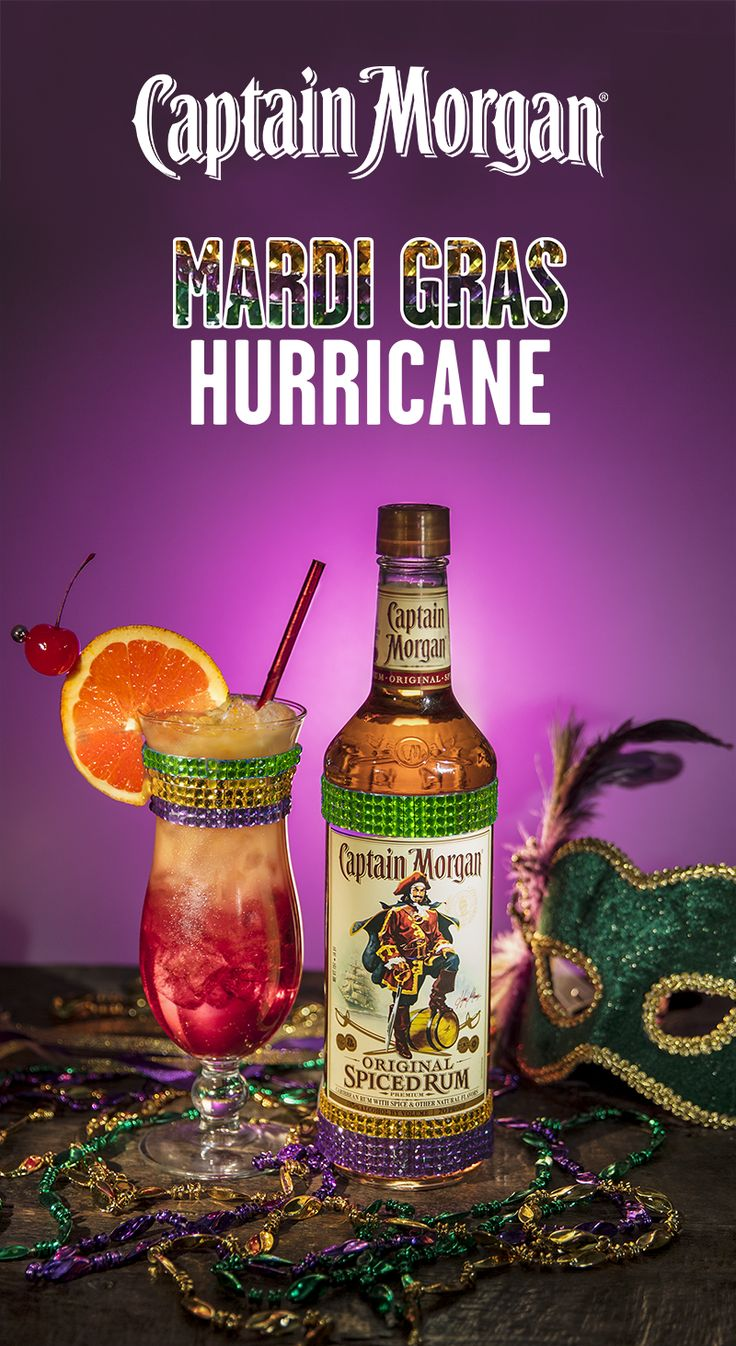 This Fat Tuesday, party like a Captain and mix up a Hurricane, the cocktail made for Mardi Gras. Add 0.75 oz Captain Morgan Original Spiced Rum, 0.75 oz Captain Morgan White Rum, 2 oz passion fruit juice, 1 oz orange juice, lime juice from 0.5 lime, 1 tbsp simple syrup, and 1 tbsp grenadine into a shaker. Shake well and pour into hurricane glass filled with crushed ice. Garnish with cherry and orange. Get your Mardi Gras on, Captain!