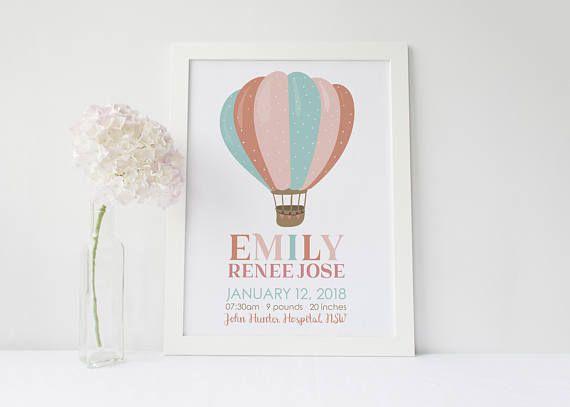 Custom Birth Announcement Poster Hot Air Balloon Print