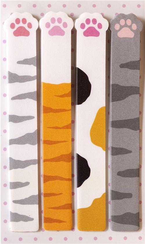 long cat paws bookmark stickers Post-it kawaii