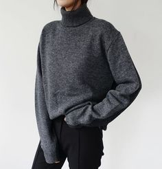 grey turtleneck sweater w/ black trouser pants