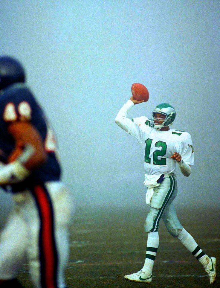 Randall Cunningham of the Philadelphia Eagles in the foggiest football game ever vs the Chicago Bears.