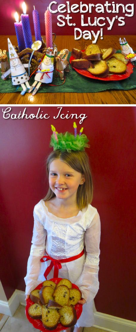Celebrating St. Lucy's feast day at home- there are so many beautiful traditions for Santa Lucia day including wearing a crown, making saffron buns, singing songs, and more! This post has printable crafts and everything. :-)