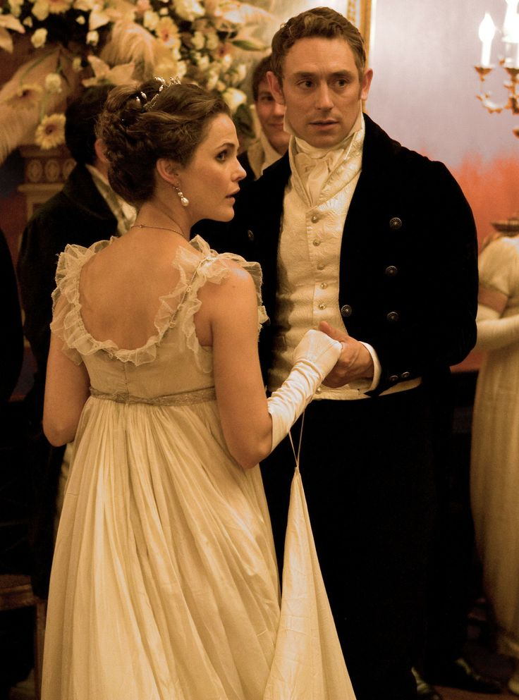 Keri Russell as Jane Hayes and JJ Feild as Mr. Henry Nobley in Austenland (2013).