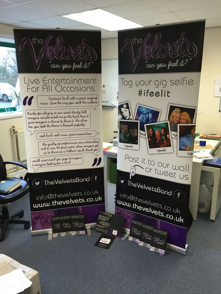 Exhibition pack for a local Function band, consisting of Roller Banners, A5 presentation folders, business cards & posters