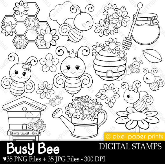 Busy Bees - Digital stamps - Bee stamps - Line art