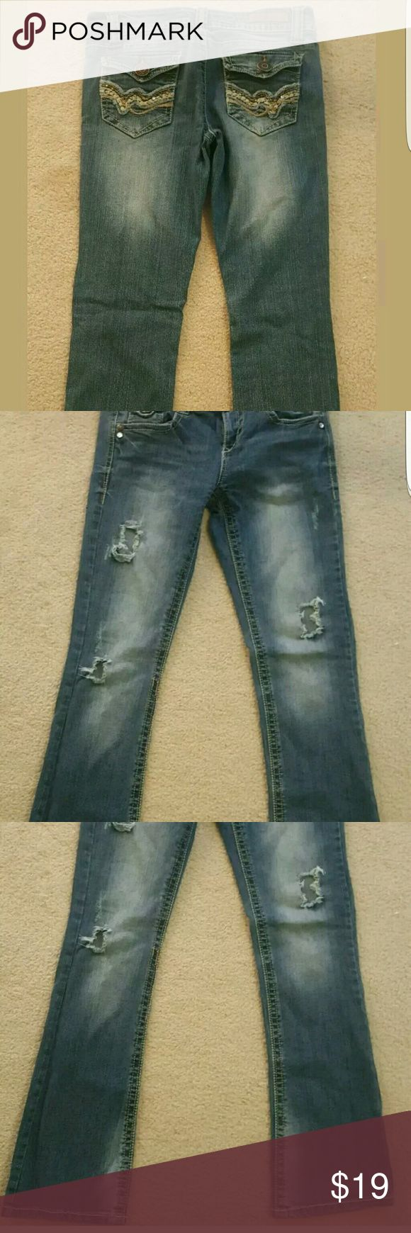 Wallflower distressed Jeans💣lowest Low rise,boot cut,distressed size 7R Jeans. Excellent condition. Stretchy,comfy,hardly worn. I just cant pull off low cut anymore. Faded wash. Wallflower Jeans Boot Cut