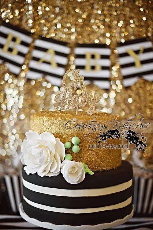 Wow! What a cake at a black, white & gold baby shower party! See more party planning ideas at CatchMyParty.com!