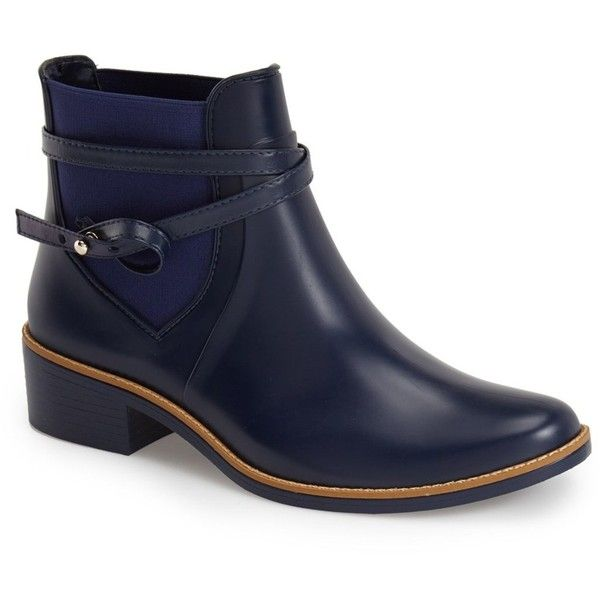 Bernardo Peony Short Waterproof Rain Boot (Women) ($55) ❤ liked on Polyvore featuring shoes, boots, navy, wellington boots, waterproof rubber boots, waterproof shoes, navy boots and short boots