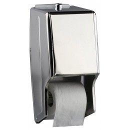 Dispensador de papel higiénico doble en dos acabados diferentes, brillo y satinado.