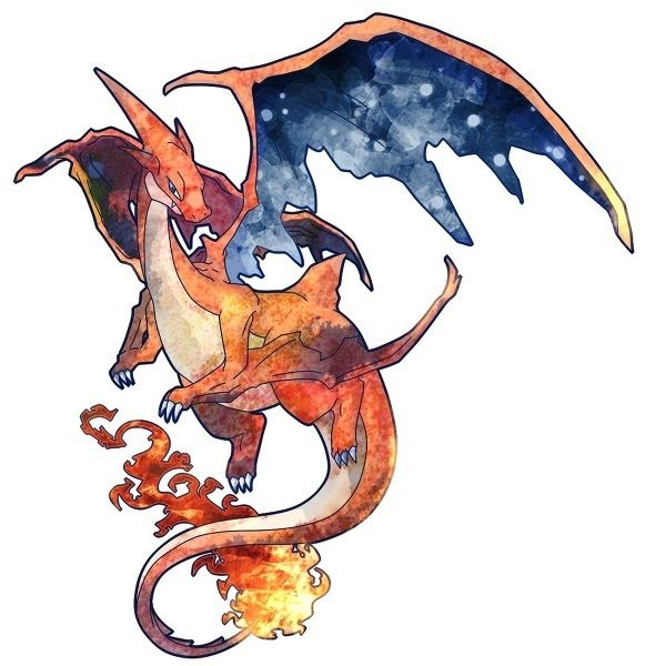 Mega-Charizard. Tattoo idea for a new piece for my oldest.