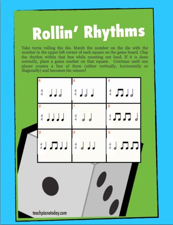 "I'll be using this free printable for a fun game to reinforce clapping and counting in 4/4 time - great for a ""brain-break"" mid-way through a piano lesson."