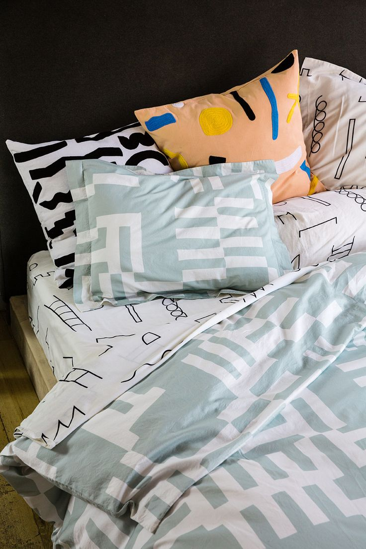 Experience Momentary Joy With Jessica Williams and Dusen Dusen's New Colorful Home Collection - graphic, modern bed sheets.
