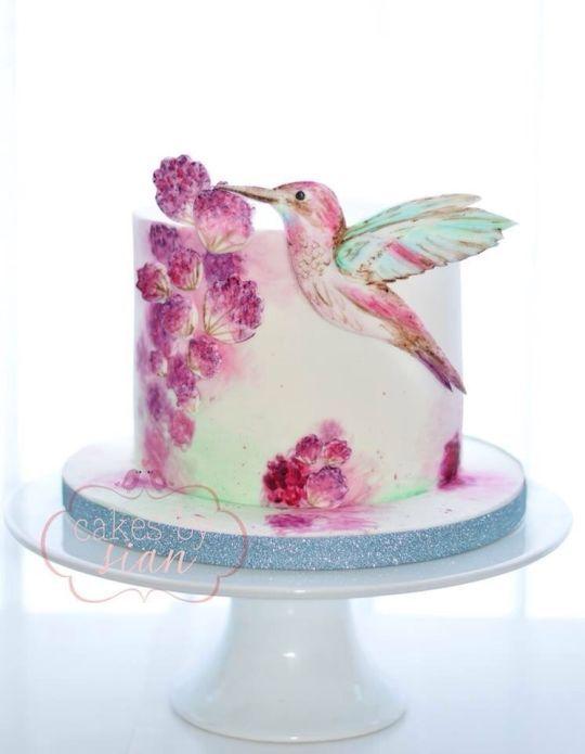 Humming Bird Handpainted cake - Cake by Cakes by Sian - CakesDecor