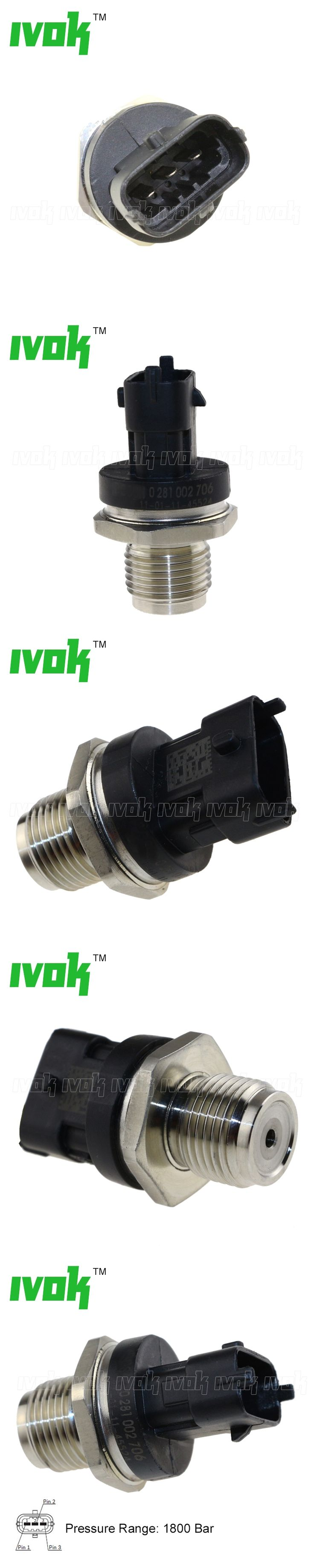 1800 Bar Diesel Fuel Common Rail Pressure Sensor For Mahindra Pik-UP Scorpio Xylo 2.2 D CDR 0281002937, 0281006112