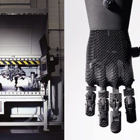 This prosthetic hand was assembled from 46 individually printed titanium parts. Oak Ridge National Laboratory plans to build it as a single printed object.